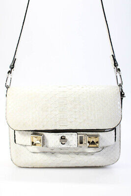 Proenza Schouler Womens Python Flap Shoulder Crossbody Bag White Gold