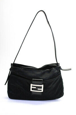 Fendi Womens Small Leather Trim Baguette Shoulder Bag Handbag Black