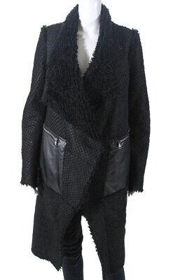 Giorgio Brato Womens Perforated Leather 3/4 Length Jacket Black Size 44
