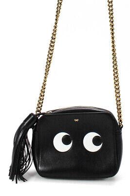 Anya Hindmarch Leather Gold Tone Chain Strap Eyes Mini Crossbody Bag Black