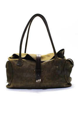 Henry Beguelin  Womens Satchel Handbag Brown Distressed Leather