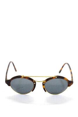 Illesteva Black Lens Round Tortoiseshell Gold Tone Metal Frame Sunglasses