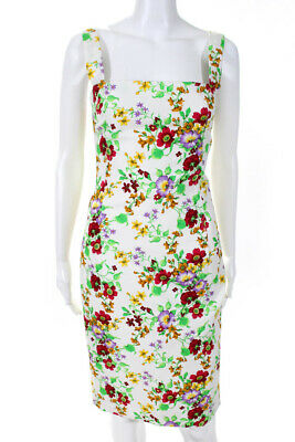 Dolce & Gabbana Womens Sleeveless Dress White Red Floral Print Size Small