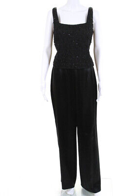 Badgley Mischka Womens Wide Leg Bead Embroidered Pants Suit Black Size 8