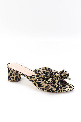 Loeffler Randall Womens Animal Print Bow Sandal Heels Brown Black Size 8 B