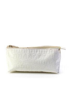 Fendi Womens Zip Top Zucca Print Pouch Handbag White Patent Leather