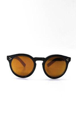 Illesteva Womens Round Mirrored Sunglasses Black Frames Orange Lenses