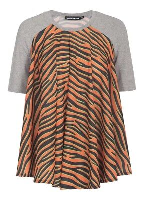 House Of Holland Orange Zebra Print Draped Sz 4