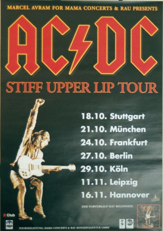 AC/DC CONCERT TOUR POSTER 2000 STIFF UPPER LIP