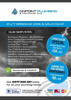OnPoint plumbing & drainage Qld- ***Storm season Special ***