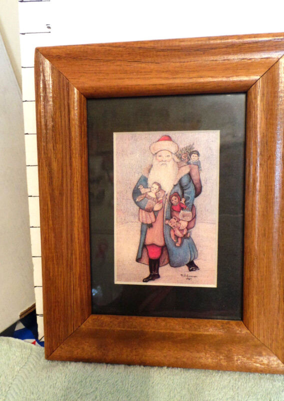 Christmas Santa Framed Artwork, Santa w/His Pack, Colony Collectibles, Signed