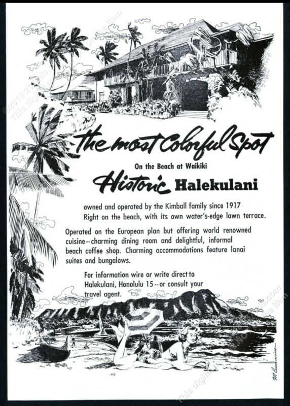 1954 Halekulani hotel Waikiki Honolulu Hawaii illustrated vintage print ad