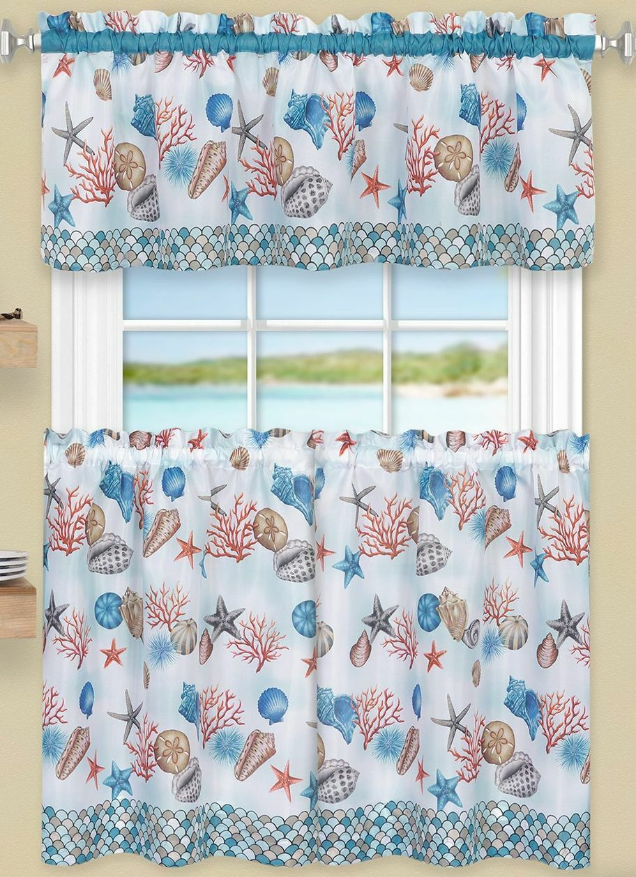 3 Pc Kitchen Curtains Set,Tiers & Swag  COASTAL SEALIFE, Ach