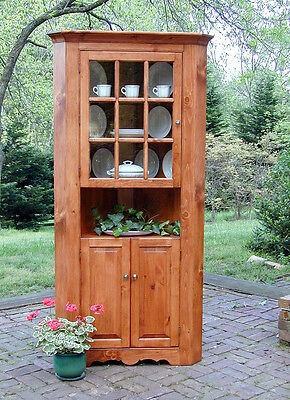 Large Kitchen Pine Corner Cupboard w/Glass Door, Made in USA