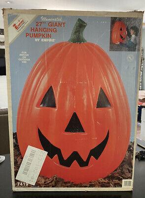 "Vtg HTF Empire Pumpkin Hanging Halloween Blow Mold Big Giant Jack O Lantern 27"""