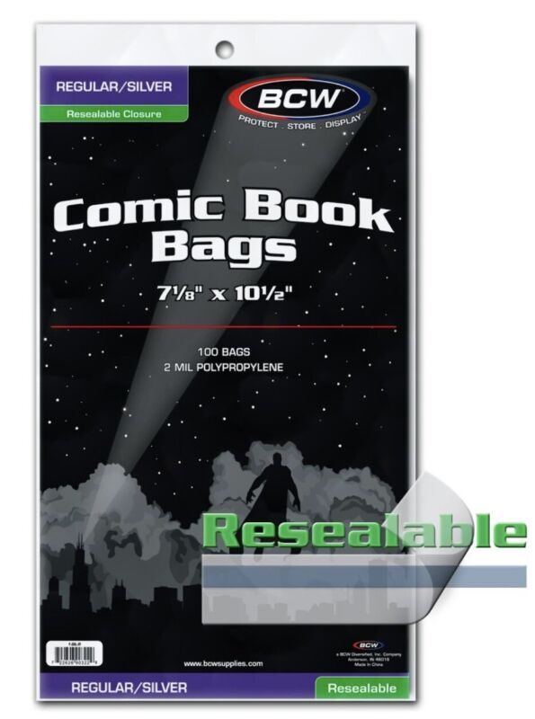Pack of 100 BCW Silver/Reg Resealable Comic Bags 2 Mil. 7 1/8 x 10 1/2 (#CS47)