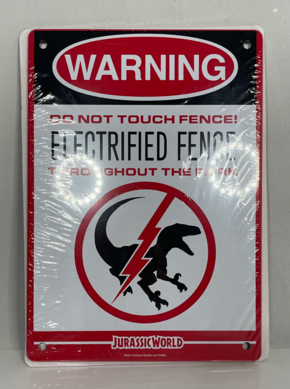 Jurassic World LootCrate Exclusive Electrified Fence Warning Sign Loot Crate New