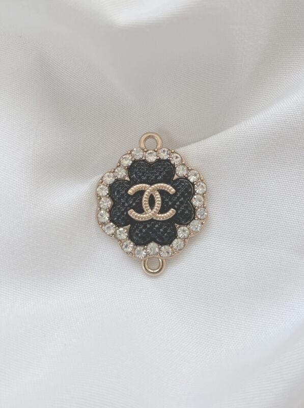 Chanel CC Gold Plated Metal Zipper Pull, Black, Rhinestone, Stamped