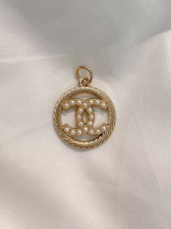 Chanel Gold CC Logo Button Metal Zipper Pull, Stamped