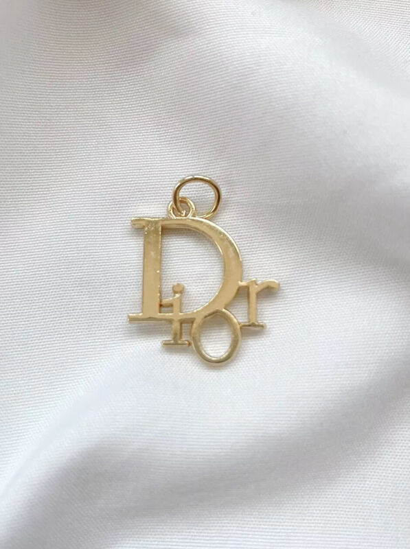 Dior Gold Plated Metal Zipper Pull, Double Sided, 20mm