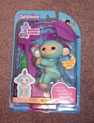 New Authentic Turquoise Zoe Fingerlings Interactive Pet Baby Monkey By Wow Wee