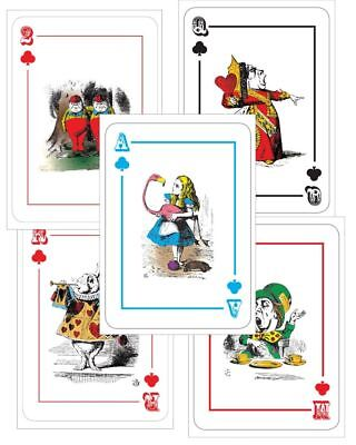 ALICE IN WONDERLAND GIANT LARGE A4 - 5 Playing Cards  MAD HATTER Tea Party - Giant Playing Card Decorations