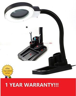 C10-5X 10X Magnifier Magnifying Crafts Glass Desk Lamp With 40 LED Lighting NEW