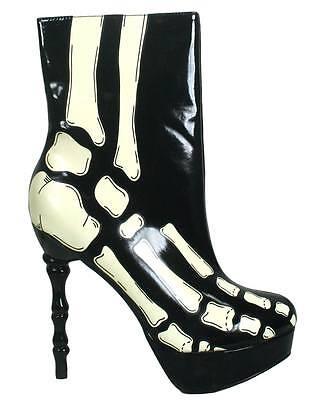 NEW TOO FAST LADIES XRAY SKELETON BONE HEEL ANKLE BOOTS BLACK & WHITE (R28A/B)