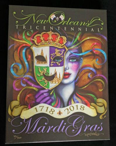 2018 Tricentennial Mistretta Signed Canvas Giclee Mardi Gras Art New Orleans
