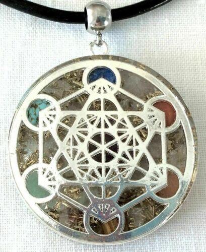 Orgone Pendant Silver Sacred Geometry Metatron & Seven Chakra Healing Stones USA