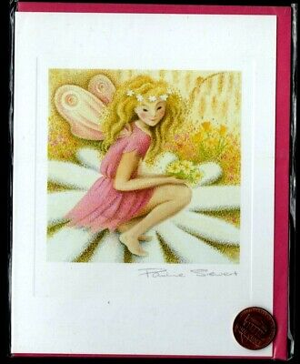 Angel Girl Flowers Heart Wings Daisies Pink Dress -  Blank Greeting Note Card  ()