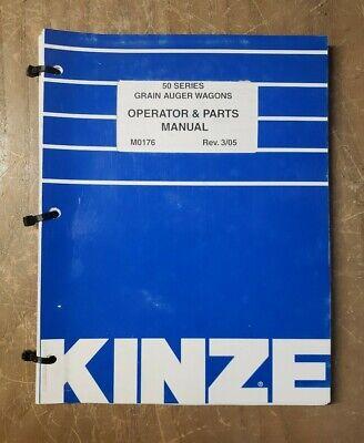Kinze 50 Series M0176 Grain Auger Wagons Operator Parts Manual 305 1j-3092-m2