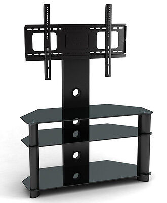 NEW Glass TV Stand TV Bracket for Plasma LCD TV Black