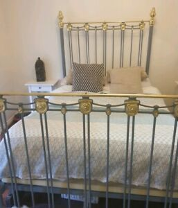 Original wrought iron double bed 1900s