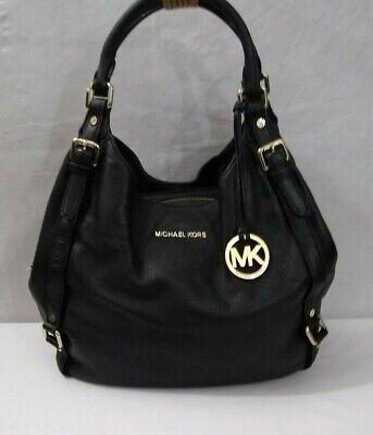 Michael Kors Black Leather Bedford Bowling Satchel Shoulder Handbag Pre Owned