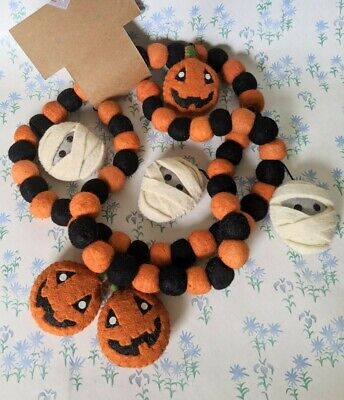 NEW Candy Corn Lane Pom Pom Felt Mummy Pumpkin Halloween Garland Farmhouse 6'