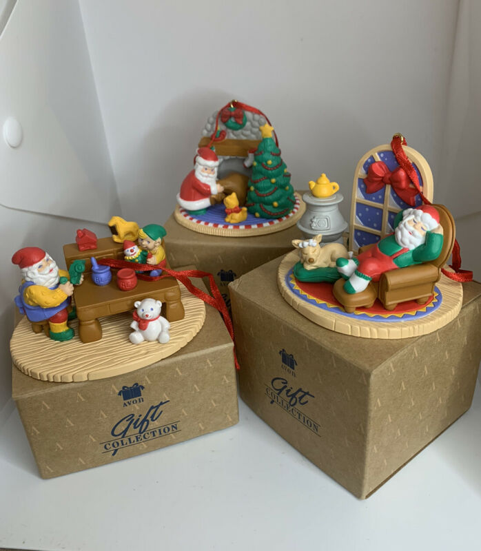 Vintage AVON Gift Collection Christmas With Santa Ornaments Set of 3