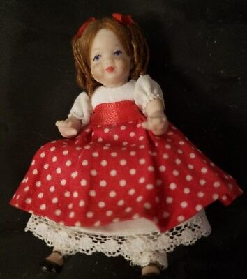 """HAND MADE POLYMER MINIATURE JOINTED DOLL - 3"""" TALL"""