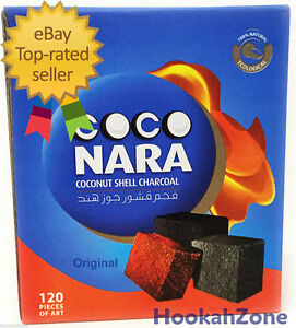 120 Pcs Coco Nara Charcoal Natural Coconut Hookah Shisha Coal CocoNara NEW PACK