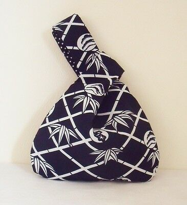 Navy & White Japanese Knot Bag / Wristlet, Bamboo Blossom design fabric handmade Blossom Navy