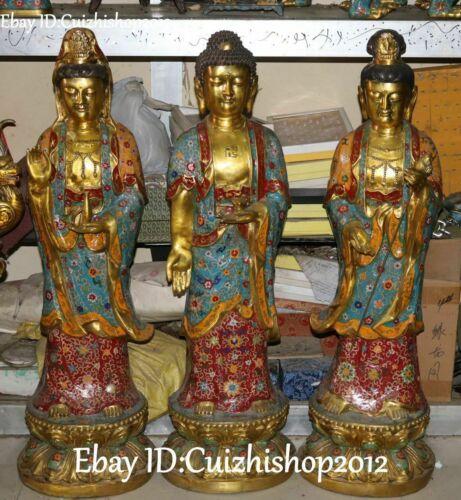 "39"" Cloisonne Enamel Gilt Western Shakyamuni Kwan-Yin God Buddha Statues Set"