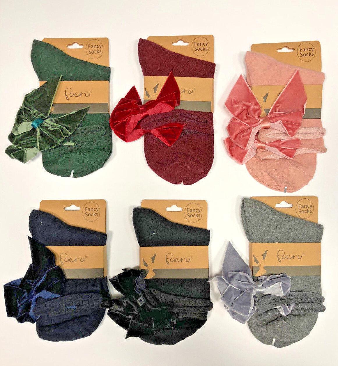 Socken mit Schleife - Schwarz - Grau - Rosa - Einheitsgröße - NEU