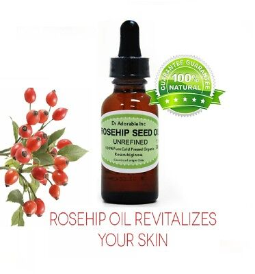 1 oz Glass Bottle 100% Rosehip Oil Pure Organic Rose Hip See