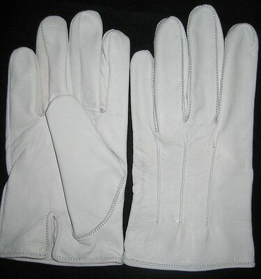 Men's Dress Gloves in White Kidskin Leather ()