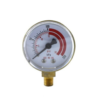 Low Pressure Gauge For Acetylene Regulator 0-30 Psi 2 Inches - 18 Npt Thread