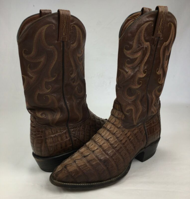 Mens, Tony, Lama, Cowboy, Boots, Royal, Hornback, Caiman, Alligator, Brown, Western, 11, D