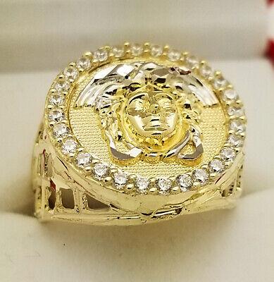 10K Yellow Gold Men's Medusa Ring Versace Logo Ring