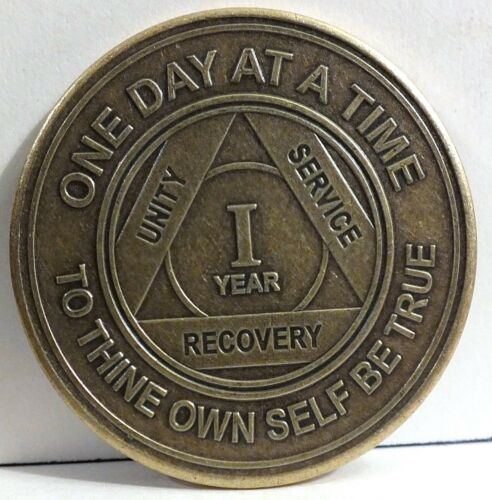Alcoholic 1 Year Recovery - One Day Chip-Medallion Coin Medal Token AA Anonymous
