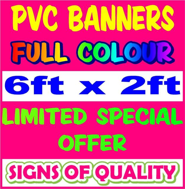 PVC Banner 6ft x 2ft - Printed Outdoor Vinyl Sign for Business Parties Birthdays