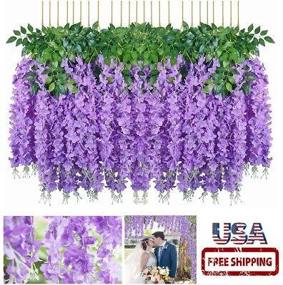 12 Pcs  3.6 Feet Artificial Silk Wisteria Vine Hanging Flower Wedding Home Decor
